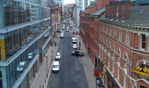 The view down Edmund Street from the multi-story car park from which Najid spots Abby's return