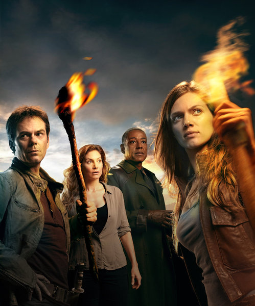 REVOLUTION -- Season:1 -- Pictured: (l-r) Billy Burke as Miles,  Elizabeth Mitchell as Rachel, Giancarlo Esposito as Lt. Neville, Tracy Spiridakos as Charlie
