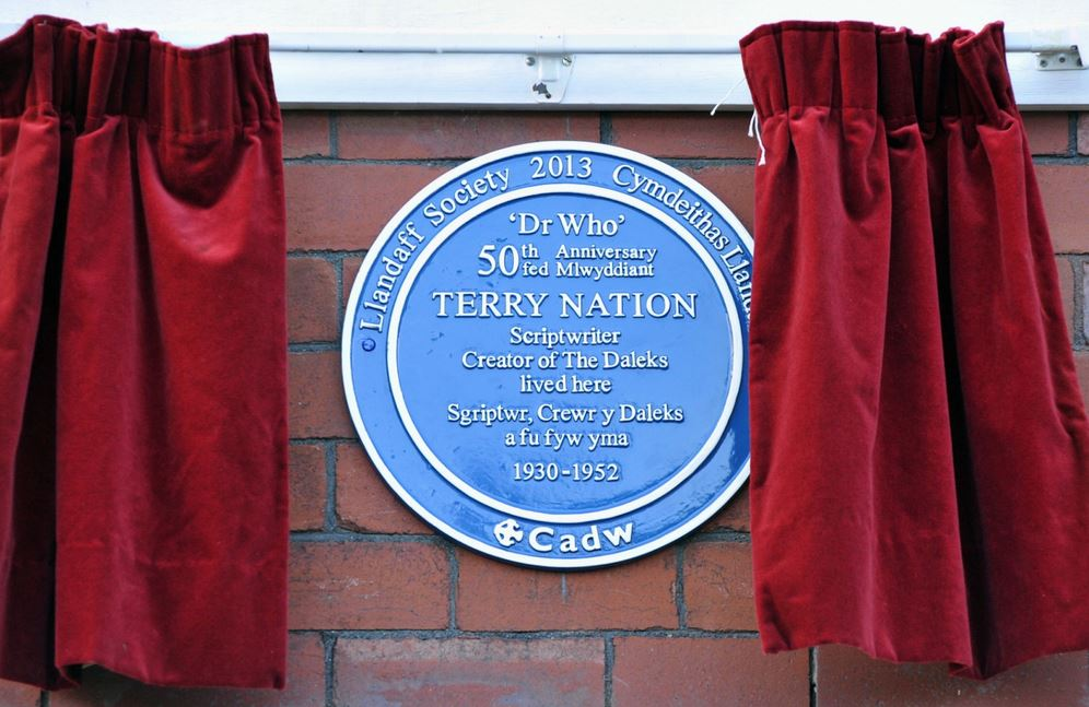 The Terry Nation 'blue plaque' at 113 Fairwater Grove West, Llandaff, Cardiff